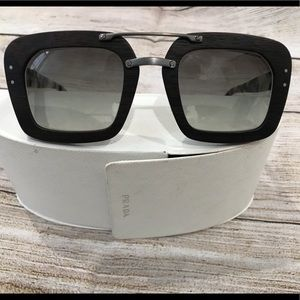 Prada White Havana Ebony Malabar Wood Sunglasses